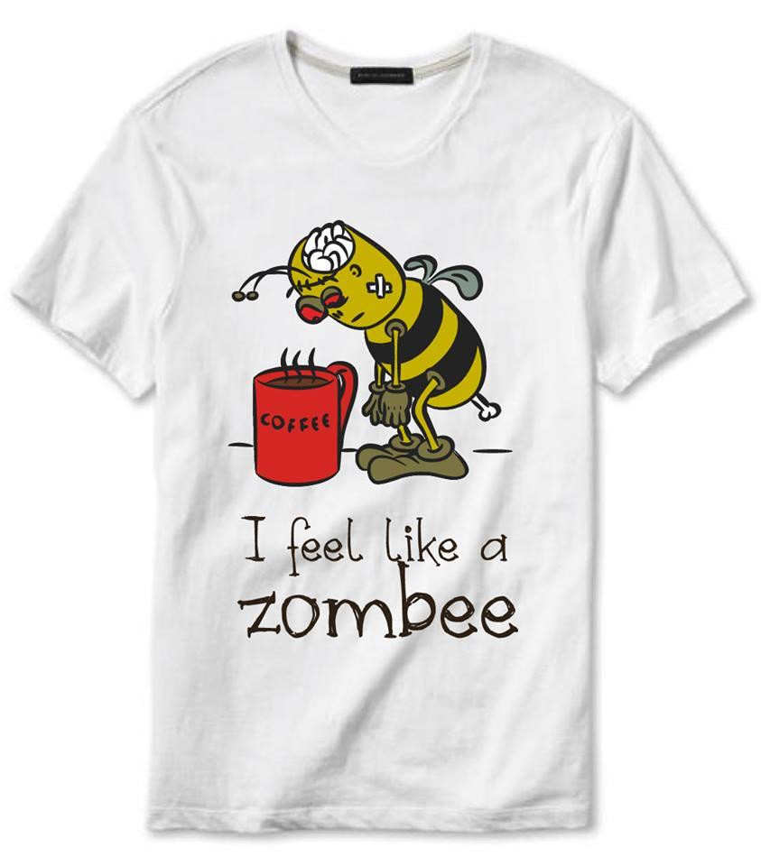 """Projekt koszulki dla kawoszy """"I feel like a zombee"""" - koszulka do kupienia w sklepiku"""