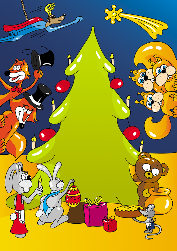 """IlustracjaIlustracja wektorowa do plakatu świątecznego przedstawienia """"Kolęda"""" wektorowa do plakatu świątecznego przedstawienia"""