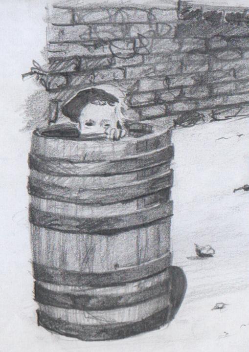 """Rysunek ołówkiem - """"Ilustrator - autoportret w beczce"""""""