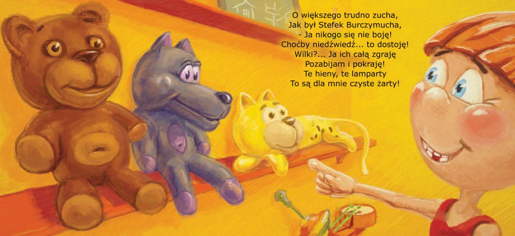 """Ilustracja do książeczki dla dzieci """"Stefek burczymucha -str. 1-2"""""""
