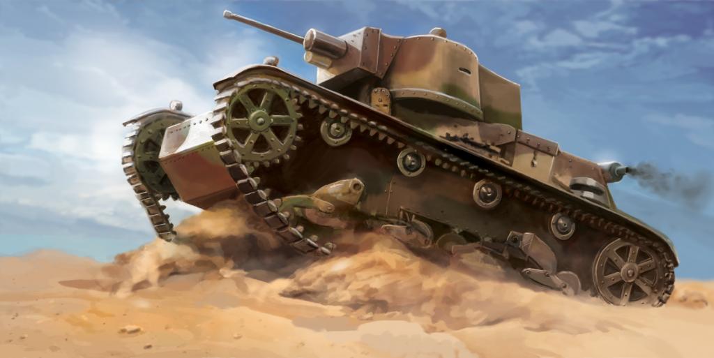 czołg 7TP - ilustracja na okładkę modelu do składania