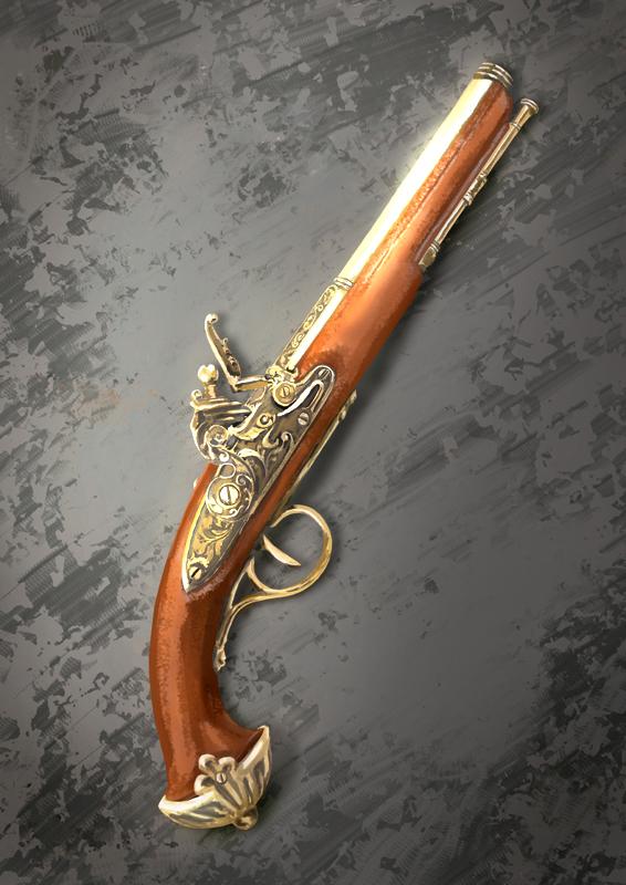 pistolet skałkowy - ilustracja do gry planszowej - karta uzbrojenia