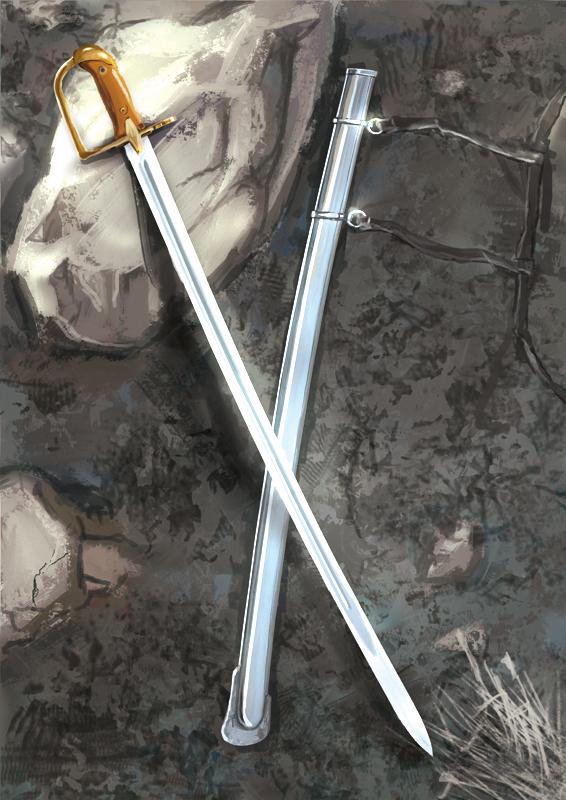 Szabla - ilustracja do gry planszowej - karta uzbrojenia