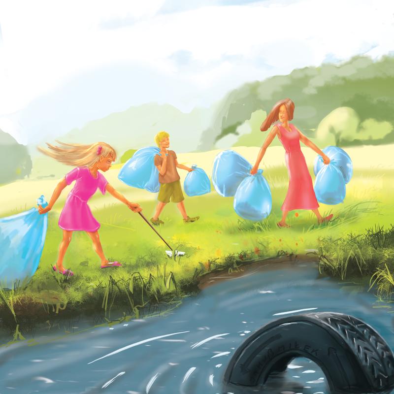 Sprzątanie - ilustracja do bajki - Leśne opowieści