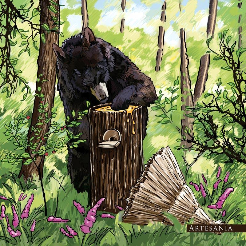Ilustracja na tkaninę - niedźwiedź