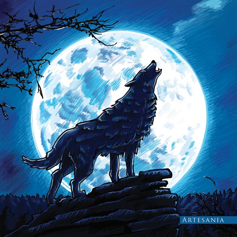 Ilustracja na tkaninę - wilk